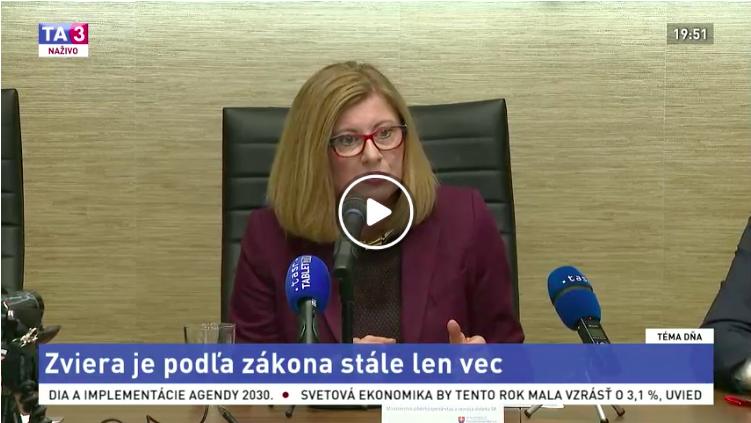 """Gabriela Matečná v TA3 - Téma dňa """"Zviera ako objekt alebo subjekt práva?"""""""