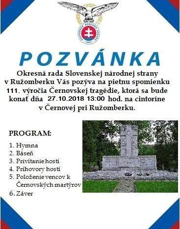 Pietna spomienka 111. výročia Černovskej tragédie