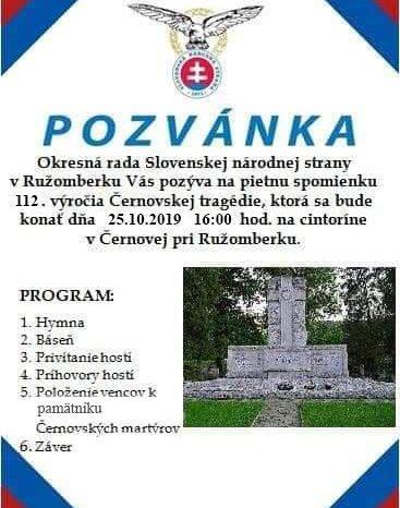 Pietna spomienka 112. výročia Černovskej tragédie